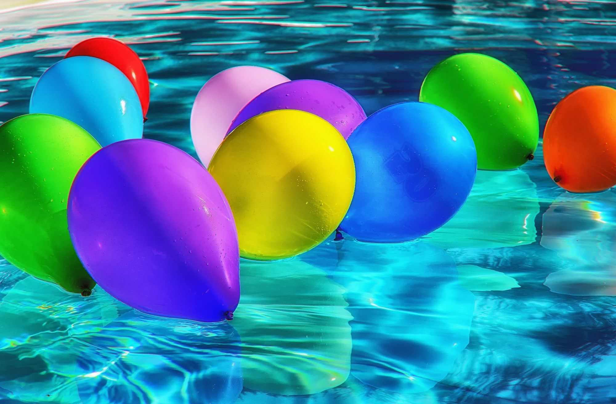 Balloons floating on the water
